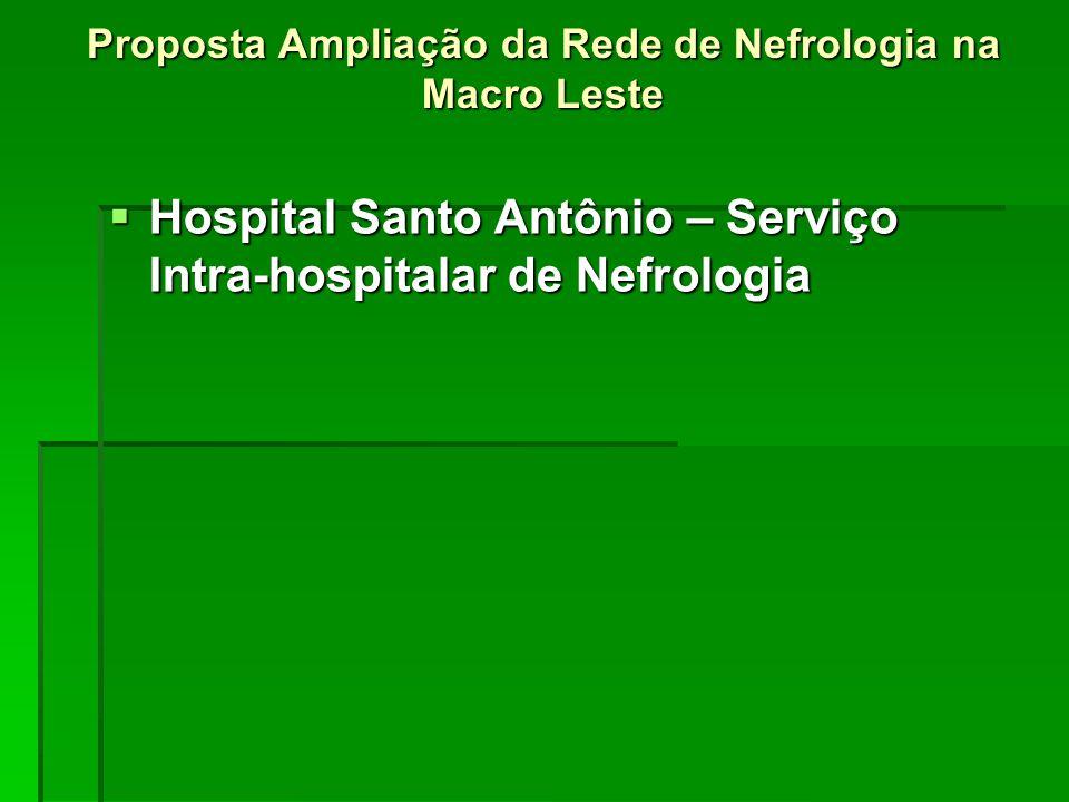 Proposta Ampliação da Rede de Nefrologia na Macro Leste  Hospital Santo Antônio – Serviço Intra-hospitalar de Nefrologia