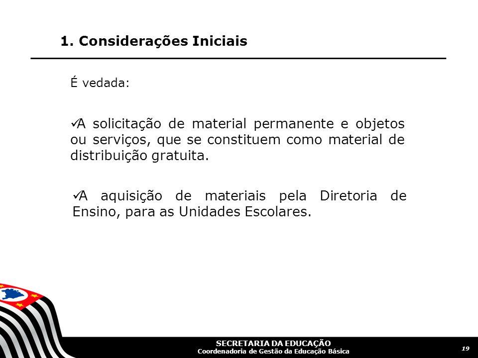 SECRETARIA DA EDUCAÇÃO Coordenadoria de Gestão da Educação Básica 1.