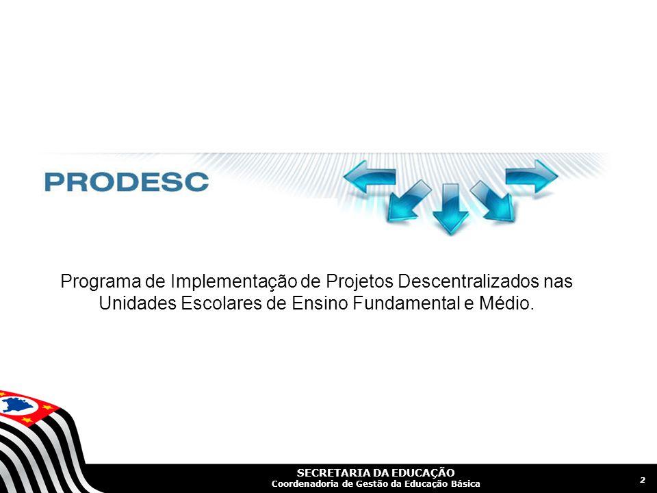 SECRETARIA DA EDUCAÇÃO Coordenadoria de Gestão da Educação Básica 2 Programa de Implementação de Projetos Descentralizados nas Unidades Escolares de Ensino Fundamental e Médio.