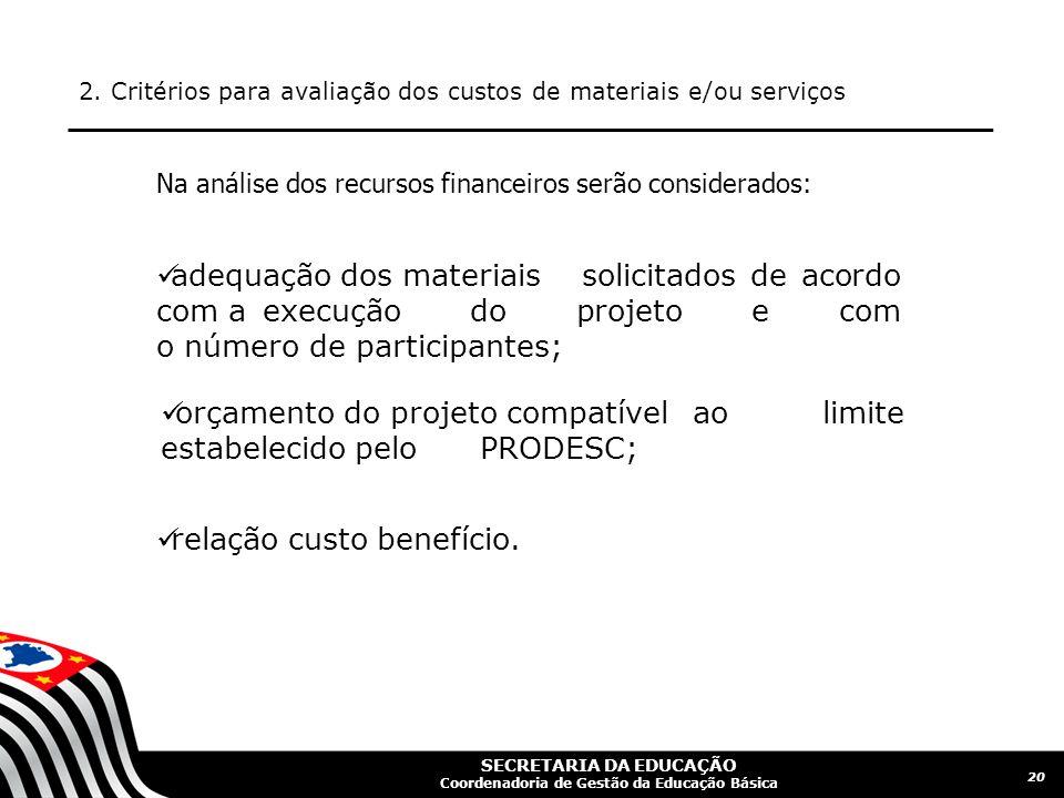 SECRETARIA DA EDUCAÇÃO Coordenadoria de Gestão da Educação Básica 2. Critérios para avaliação dos custos de materiais e/ou serviços 20 Na análise dos