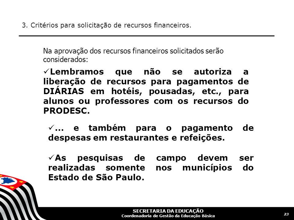 SECRETARIA DA EDUCAÇÃO Coordenadoria de Gestão da Educação Básica 3. Critérios para solicitação de recursos financeiros. 23 Na aprovação dos recursos