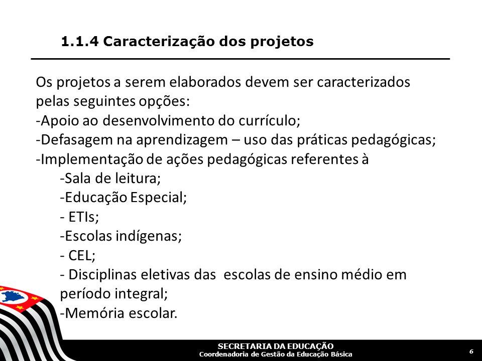 1.1.4 Caracterização dos projetos 6 Os projetos a serem elaborados devem ser caracterizados pelas seguintes opções: -Apoio ao desenvolvimento do currí