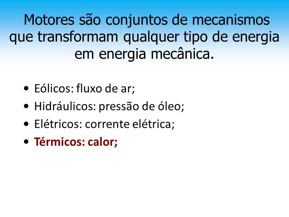 Motores são conjuntos de mecanismos que transformam qualquer tipo de energia em energia mecânica. • Eólicos: fluxo de ar; • Hidráulicos: pressão de ól