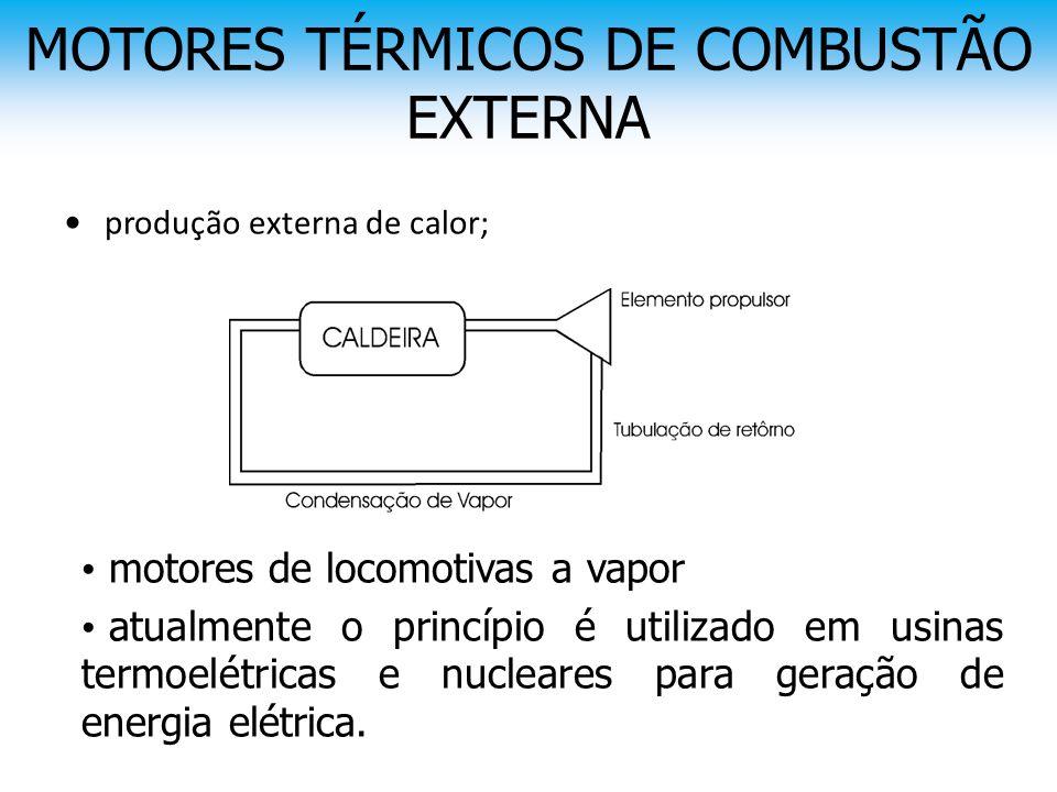 MOTORES TÉRMICOS DE COMBUSTÃO EXTERNA • produção externa de calor; • motores de locomotivas a vapor • atualmente o princípio é utilizado em usinas ter