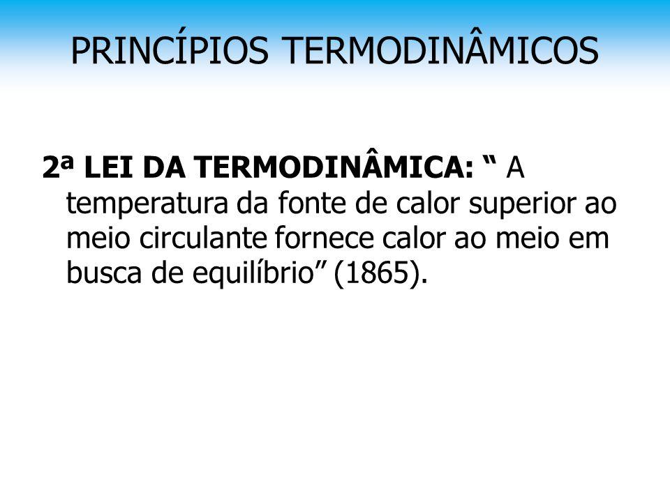 """PRINCÍPIOS TERMODINÂMICOS 2ª LEI DA TERMODINÂMICA: """" A temperatura da fonte de calor superior ao meio circulante fornece calor ao meio em busca de equ"""