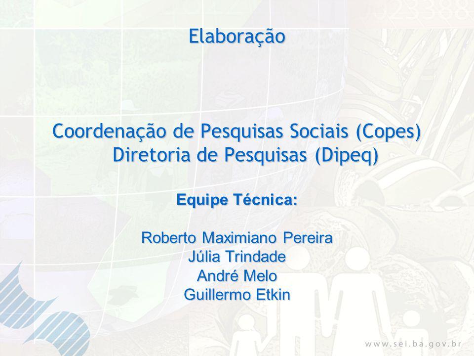 Elaboração Coordenação de Pesquisas Sociais (Copes) Diretoria de Pesquisas (Dipeq) Equipe Técnica: Roberto Maximiano Pereira Júlia Trindade André Melo