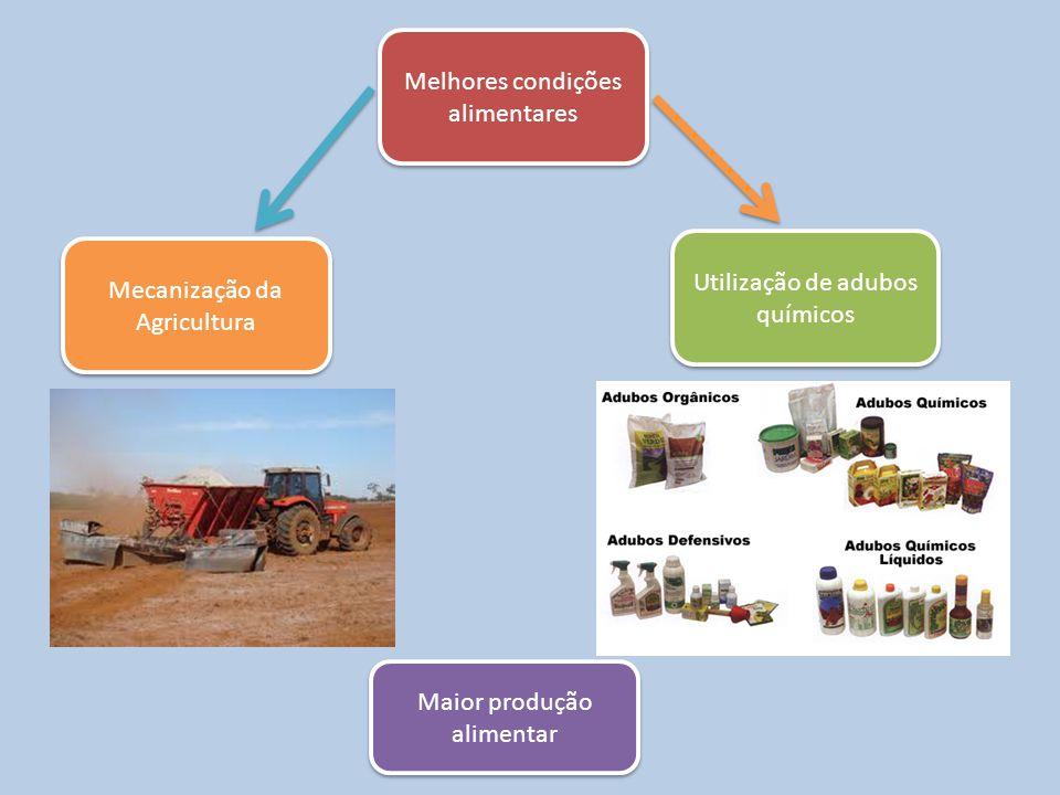 Melhores condições alimentares Mecanização da Agricultura Utilização de adubos químicos Maior produção alimentar