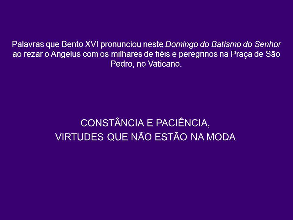 Palavras que Bento XVI pronunciou neste Domingo do Batismo do Senhor ao rezar o Angelus com os milhares de fiéis e peregrinos na Praça de São Pedro, n