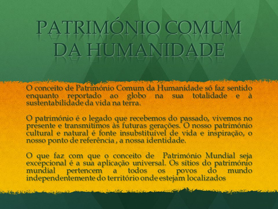 O conceito de Património Comum da Humanidade só faz sentido enquanto reportado ao globo na sua totalidade e à sustentabilidade da vida na terra. O pat