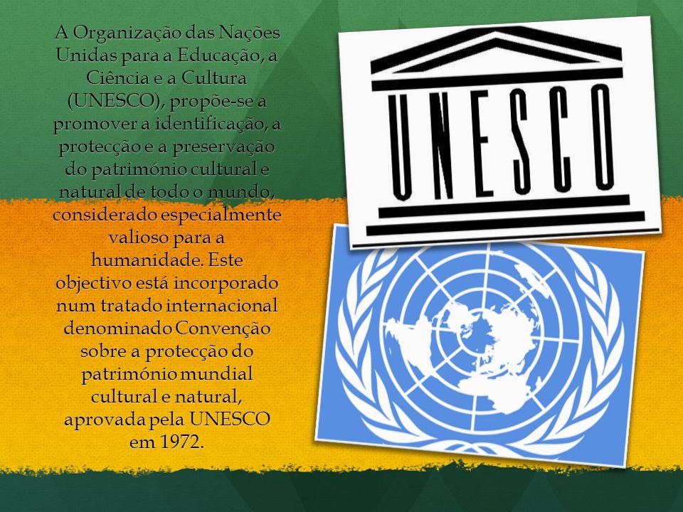 A Organização das Nações Unidas para a Educação, a Ciência e a Cultura (UNESCO), propõe-se a promover a identificação, a protecção e a preservação do