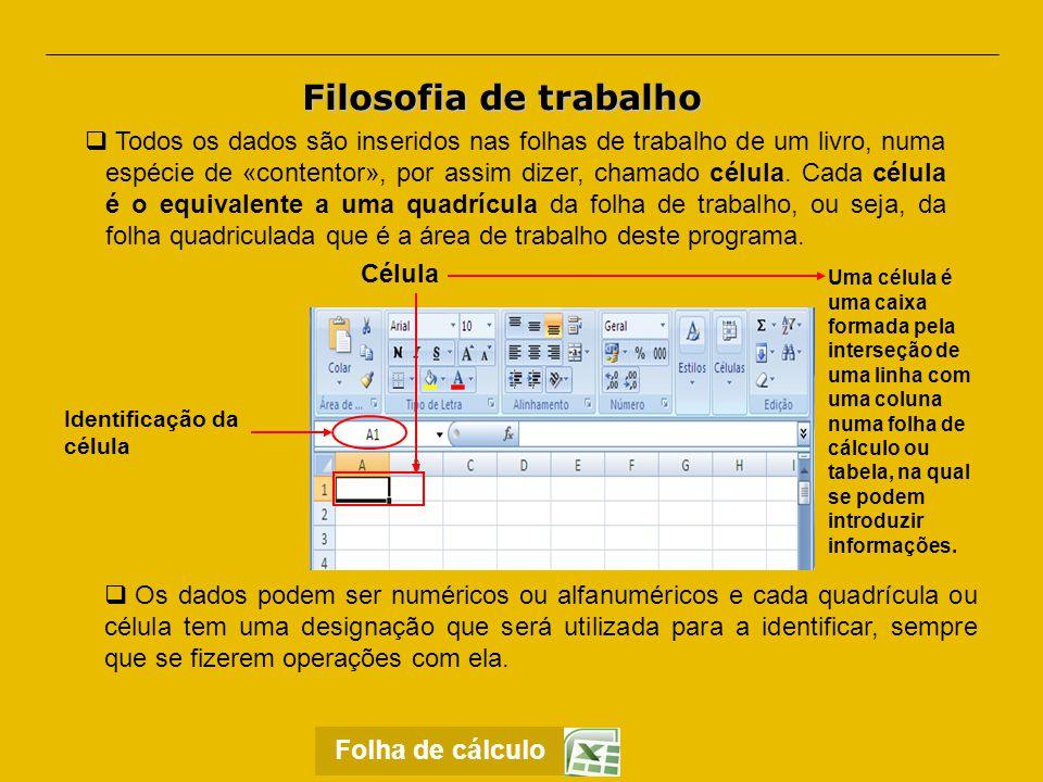 Barra de Menus.Permite o acesso a todos os comandos do Excel.