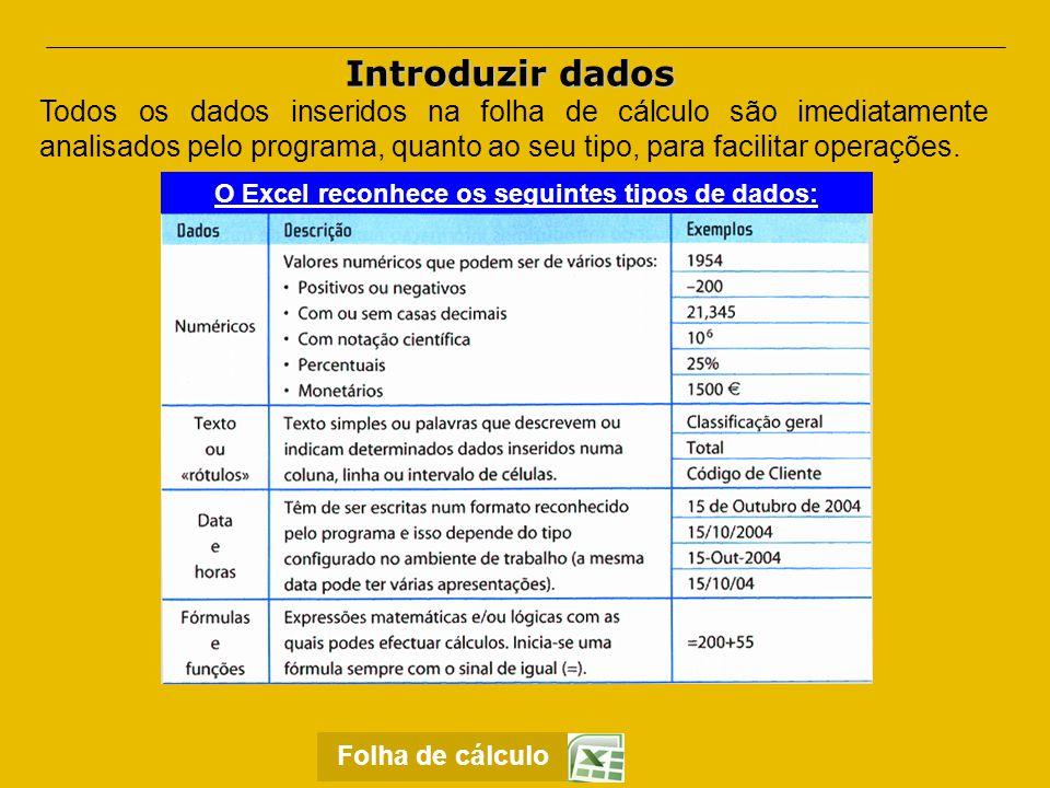 Introduzir dados  Texto ou Rótulos Estes são dados de texto, não são alterados e nunca são confundidos, pelo programa, com dados numéricos, datas, horas ou fórmulas.