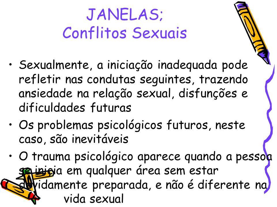 JANELAS; Conflitos Sexuais •Sexualmente, a iniciação inadequada pode refletir nas condutas seguintes, trazendo ansiedade na relação sexual, disfunções
