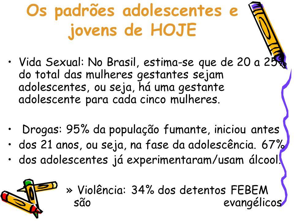 Os padrões adolescentes e jovens de HOJE •Vida Sexual: No Brasil, estima-se que de 20 a 25% do total das mulheres gestantes sejam adolescentes, ou sej