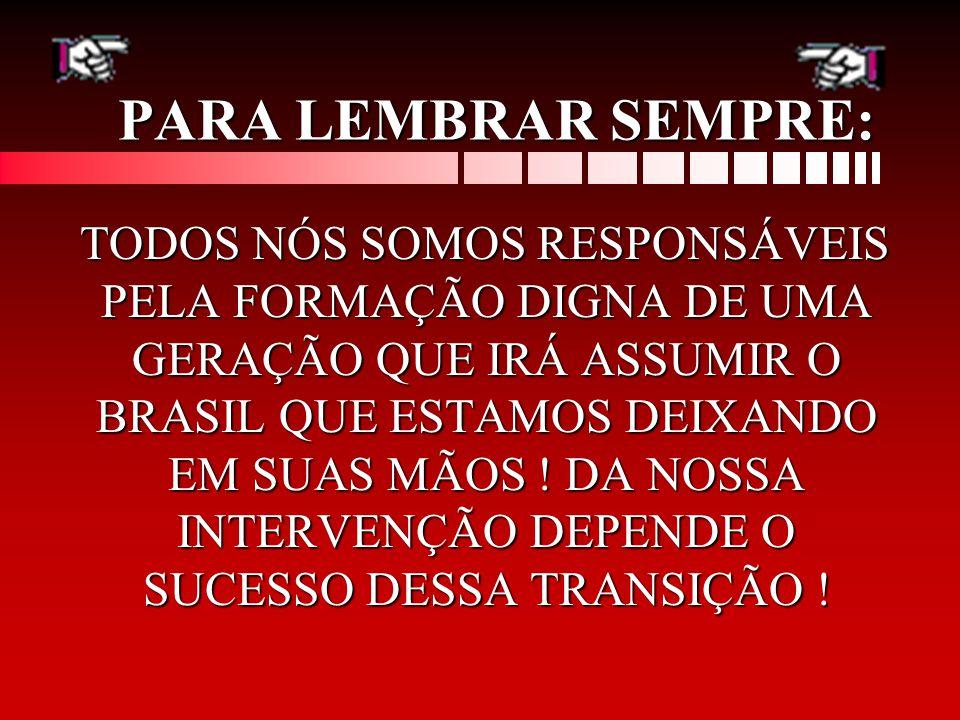 PARA LEMBRAR SEMPRE: TODOS NÓS SOMOS RESPONSÁVEIS PELA FORMAÇÃO DIGNA DE UMA GERAÇÃO QUE IRÁ ASSUMIR O BRASIL QUE ESTAMOS DEIXANDO EM SUAS MÃOS .