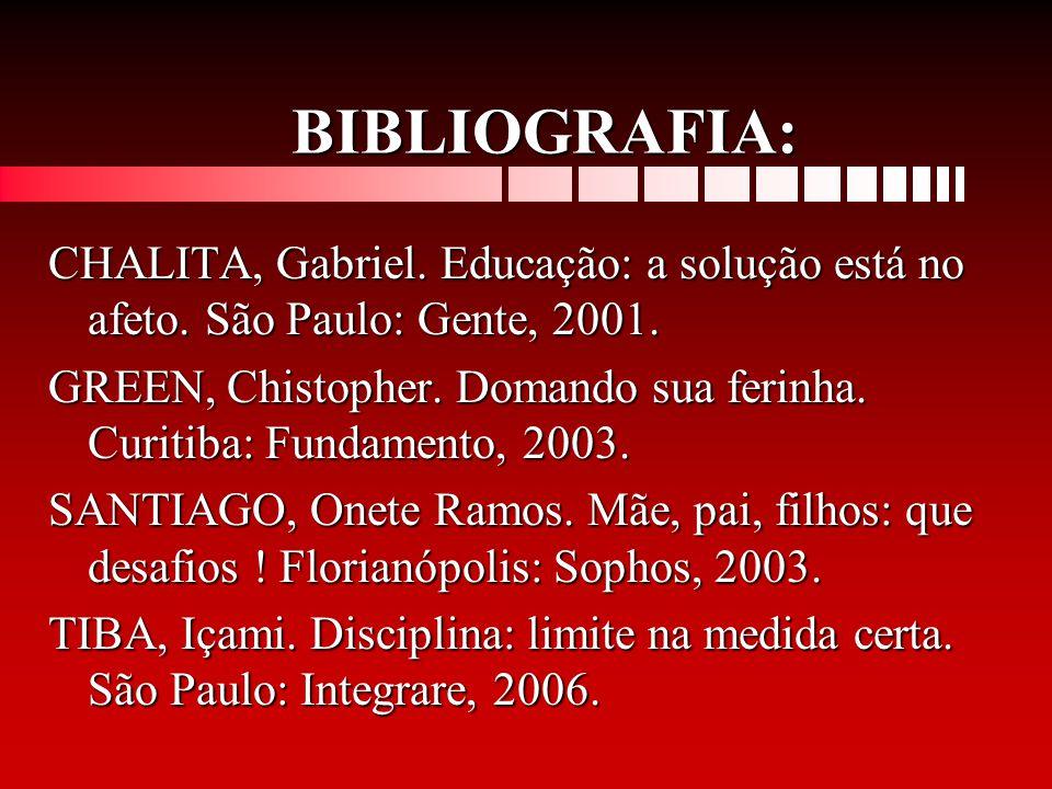 BIBLIOGRAFIA: CHALITA, Gabriel. Educação: a solução está no afeto. São Paulo: Gente, 2001. GREEN, Chistopher. Domando sua ferinha. Curitiba: Fundament