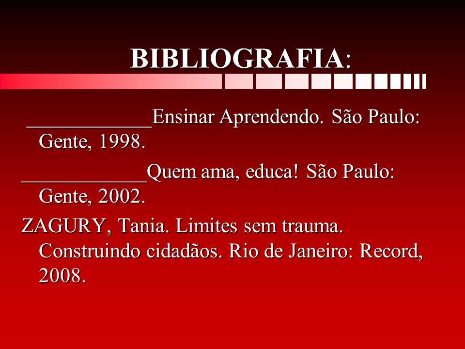 BIBLIOGRAFIA: ____________Ensinar Aprendendo. São Paulo: Gente, 1998. ____________Ensinar Aprendendo. São Paulo: Gente, 1998. ____________Quem ama, ed