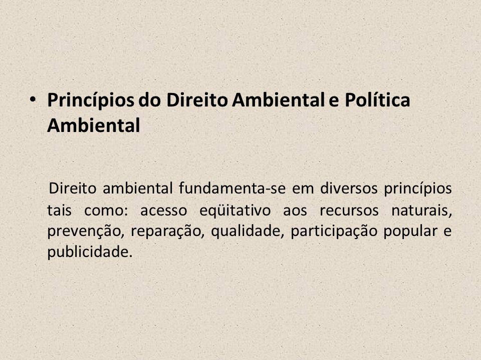 • Princípios do Direito Ambiental e Política Ambiental Direito ambiental fundamenta-se em diversos princípios tais como: acesso eqüitativo aos recurso