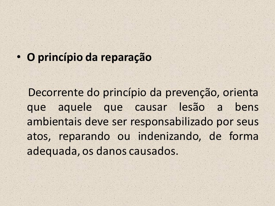 • O princípio da reparação Decorrente do princípio da prevenção, orienta que aquele que causar lesão a bens ambientais deve ser responsabilizado por s