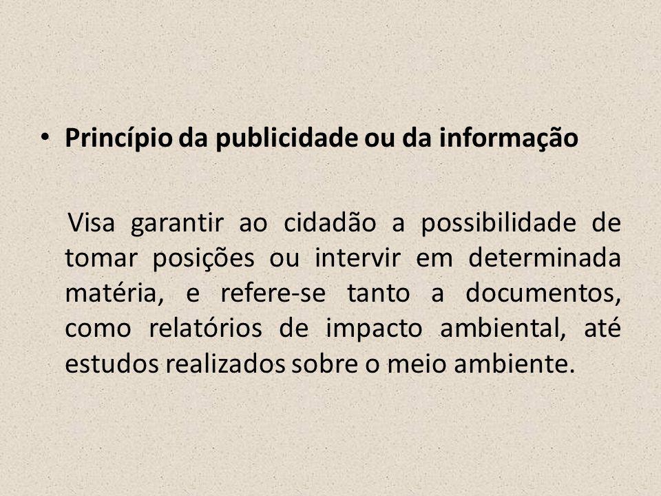 • Princípio da publicidade ou da informação Visa garantir ao cidadão a possibilidade de tomar posições ou intervir em determinada matéria, e refere-se