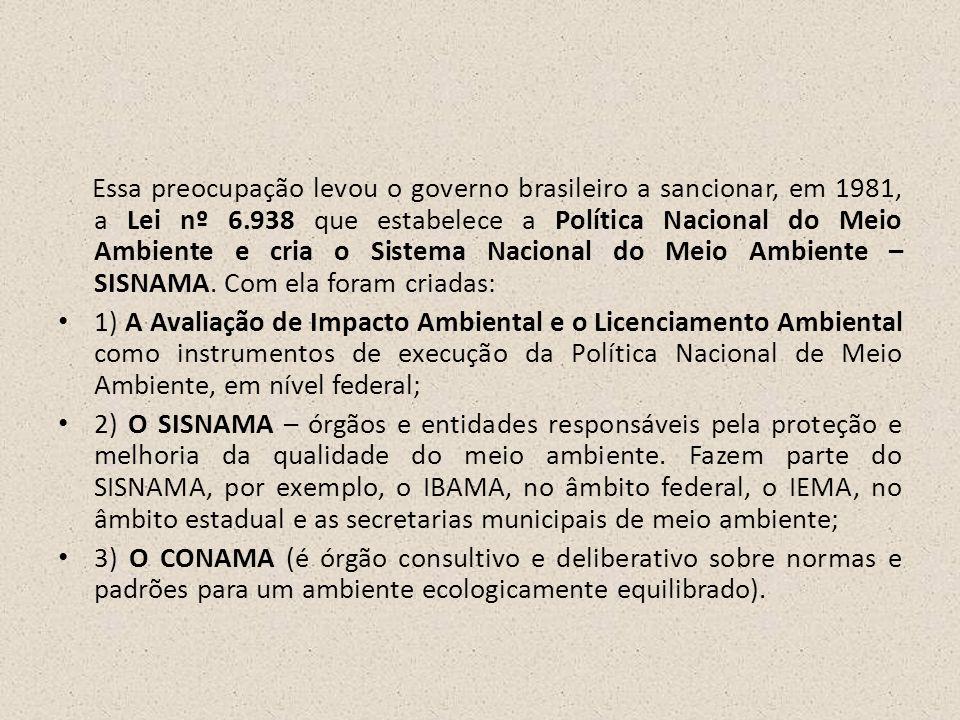 Essa preocupação levou o governo brasileiro a sancionar, em 1981, a Lei nº 6.938 que estabelece a Política Nacional do Meio Ambiente e cria o Sistema