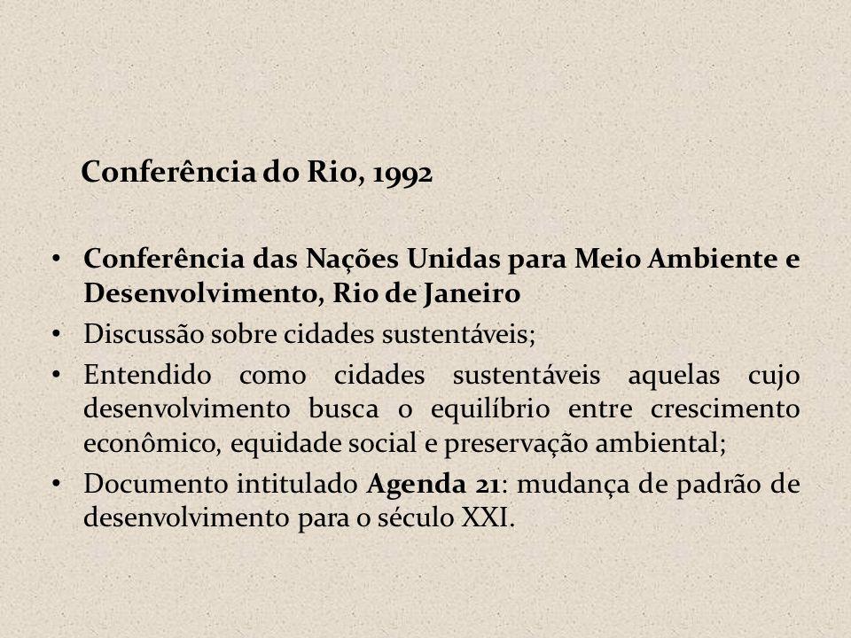 Conferência do Rio, 1992 • Conferência das Nações Unidas para Meio Ambiente e Desenvolvimento, Rio de Janeiro • Discussão sobre cidades sustentáveis;
