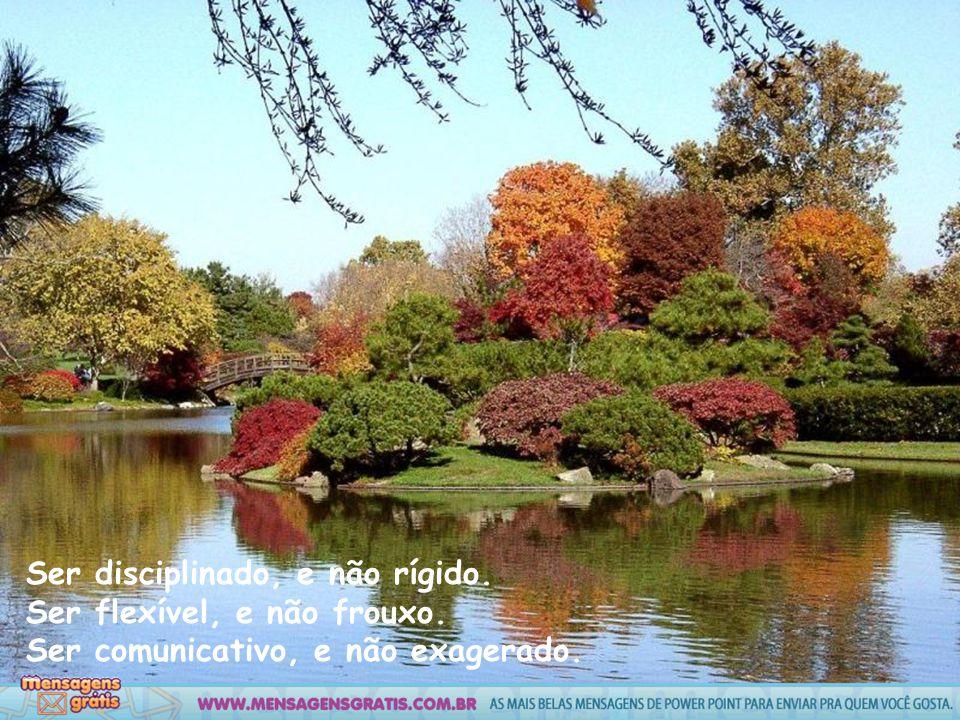 Ser disciplinado, e não rígido. Ser flexível, e não frouxo. Ser comunicativo, e não exagerado.