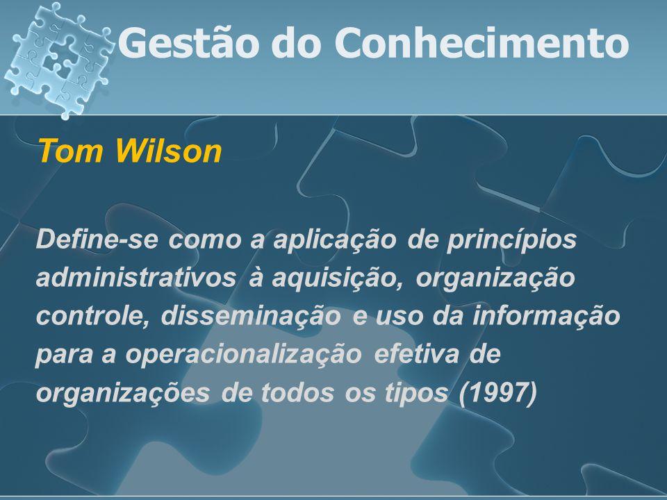 Tom Wilson Define-se como a aplicação de princípios administrativos à aquisição, organização controle, disseminação e uso da informação para a operaci