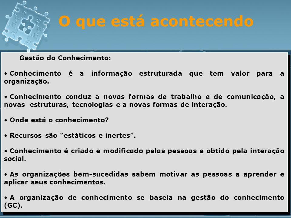 O que está acontecendo Gestão do Conhecimento: • Conhecimento é a informação estruturada que tem valor para a organização. • Conhecimento conduz a nov