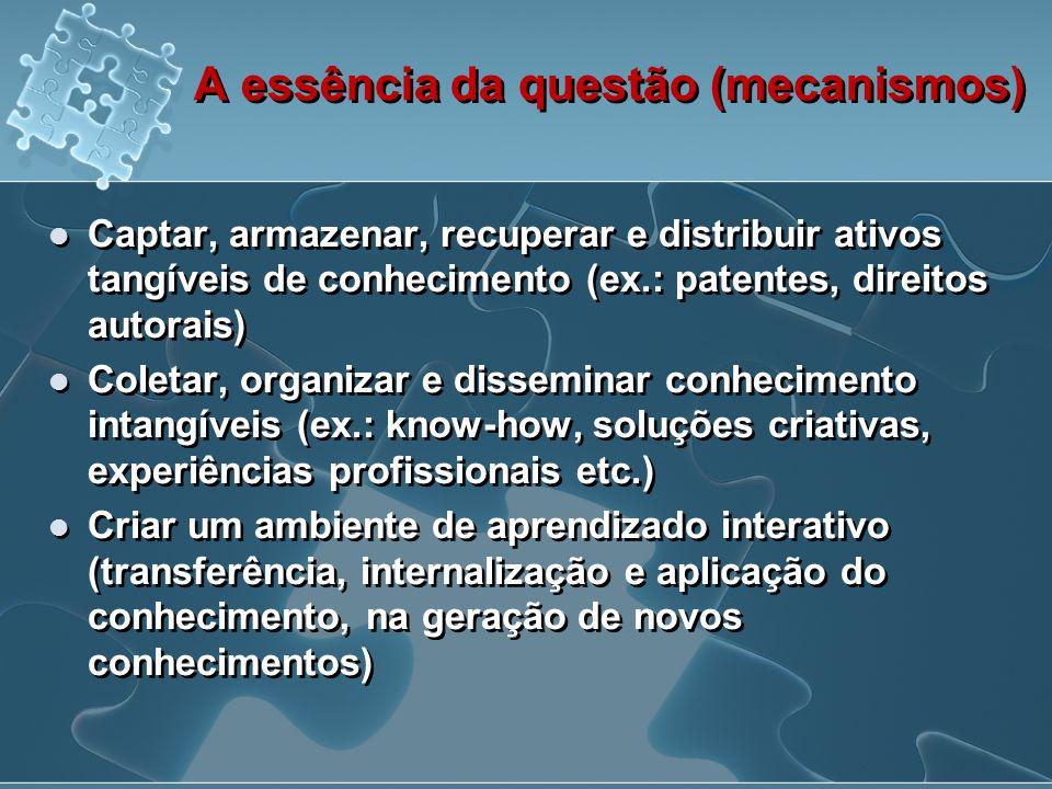 A essência da questão (mecanismos)  Captar, armazenar, recuperar e distribuir ativos tangíveis de conhecimento (ex.: patentes, direitos autorais)  C