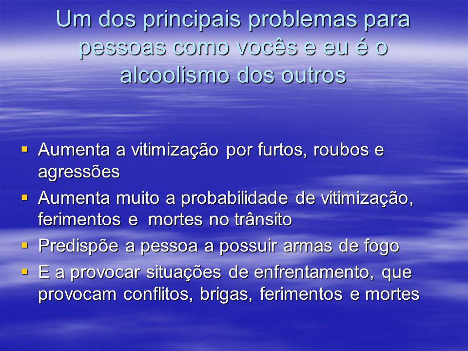 Um dos principais problemas para pessoas como vocês e eu é o alcoolismo dos outros  Aumenta a vitimização por furtos, roubos e agressões  Aumenta mu