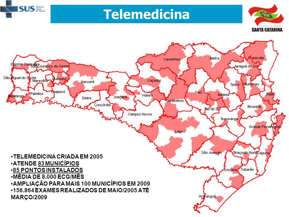 Telemedicina • •TELEMEDICINA CRIADA EM 2005 • •ATENDE 83 MUNICÍPIOS • •85 PONTOS INSTALADOS • •MÉDIA DE 8.000 ECG/MÊS • •AMPLIAÇÃO PARA MAIS 100 MUNIC