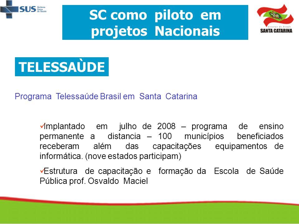 SC como piloto em projetos Nacionais TELESSAÙDE Programa Telessaúde Brasil em Santa Catarina   Implantado em julho de 2008 – programa de ensino perm