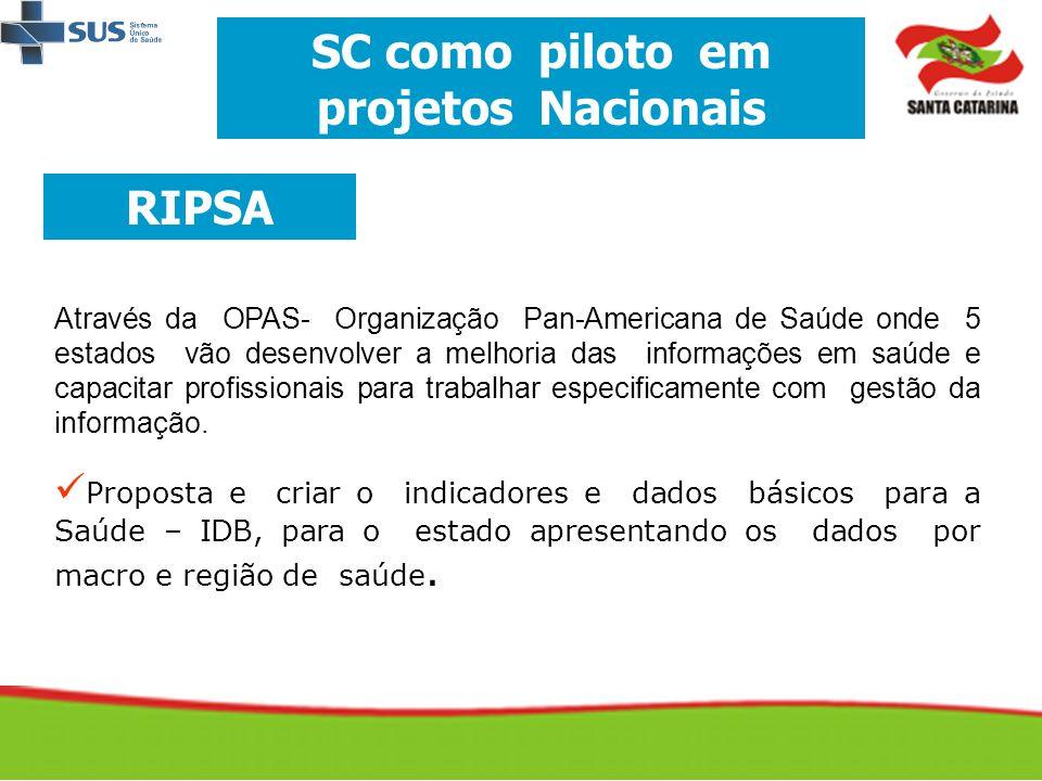SC como piloto em projetos Nacionais RIPSA Através da OPAS- Organização Pan-Americana de Saúde onde 5 estados vão desenvolver a melhoria das informaçõ