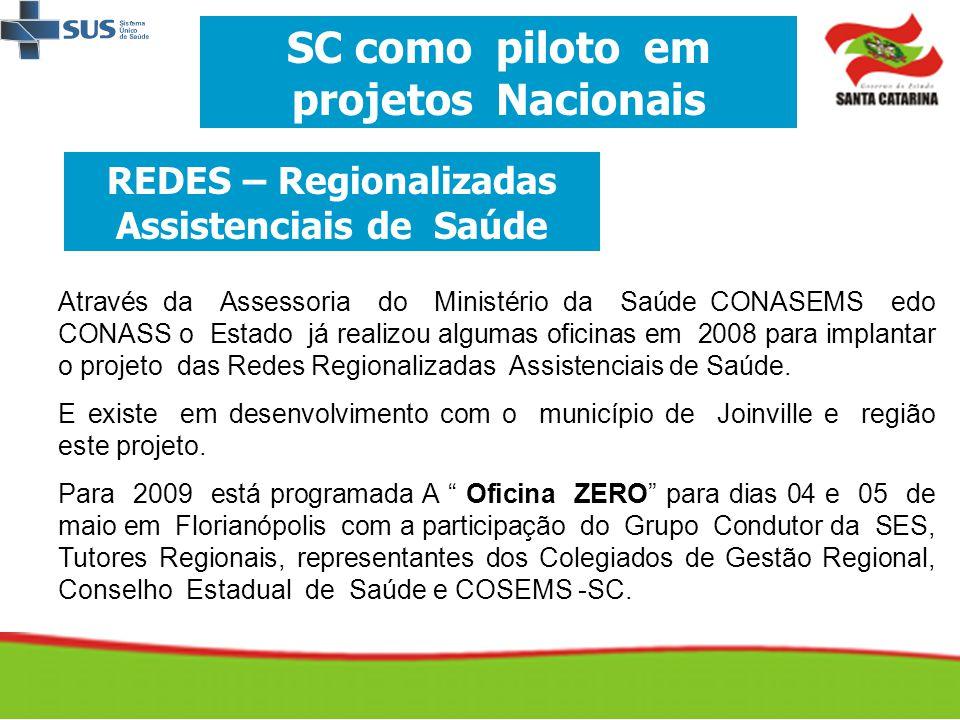 SC como piloto em projetos Nacionais REDES – Regionalizadas Assistenciais de Saúde Através da Assessoria do Ministério da Saúde CONASEMS edo CONASS o