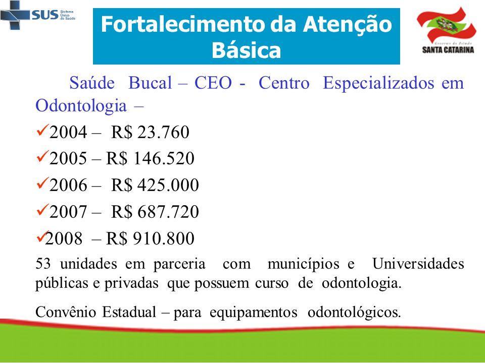Saúde Bucal – CEO - Centro Especializados em Odontologia –   2004 – R$ 23.760   2005 – R$ 146.520   2006 – R$ 425.000   2007 – R$ 687.720  