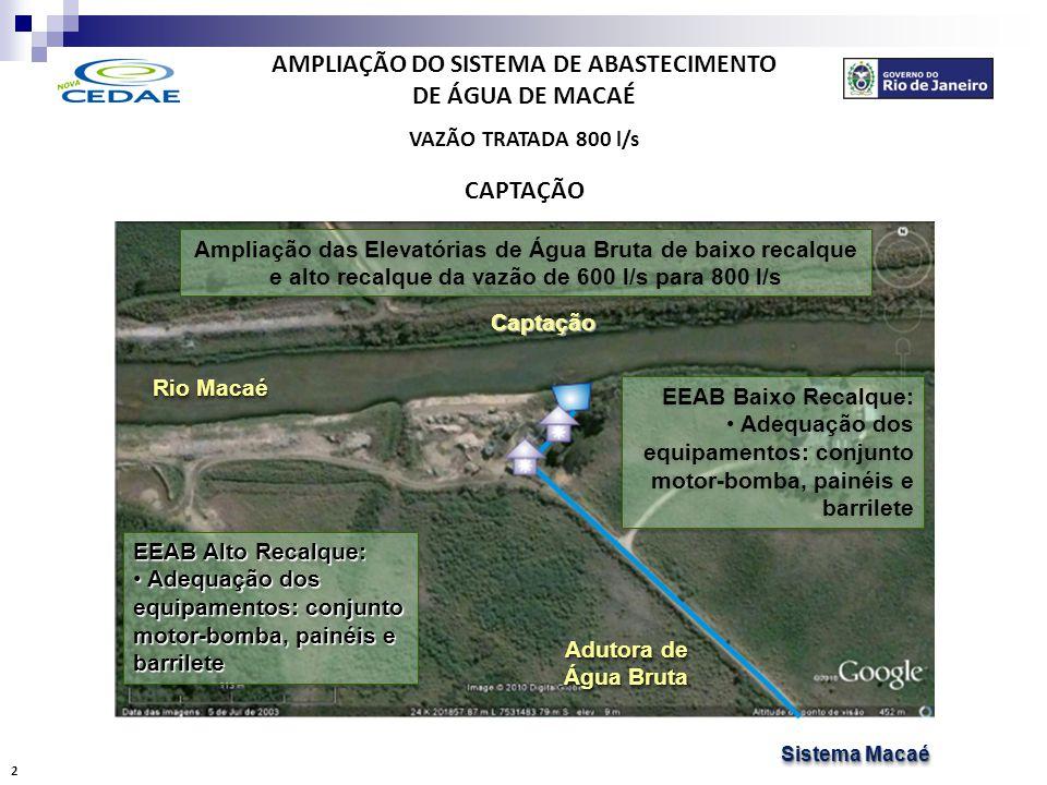 AMPLIAÇÃO DO SISTEMA DE ABASTECIMENTO DE ÁGUA DE MACAÉ VAZÃO TRATADA 800 l/s ADUÇÃO CaptaçãoCaptação ETAETA Stand-PipeStand-Pipe Complementação da Duplicação da Adutora de Água Bruta: •Assentamento de 3.080m de tubos de ferro fundido de diâmetro 600mm Complementação da Duplicação da Adutora de Água Bruta: •Assentamento de 3.080m de tubos de ferro fundido de diâmetro 600mm Sistema Macaé Sistema Macaé Sistema Macaé Sistema Macaé 3 1.710m de tubos de diâmetro 600mm 1.370m de tubos de diâmetro 600mm