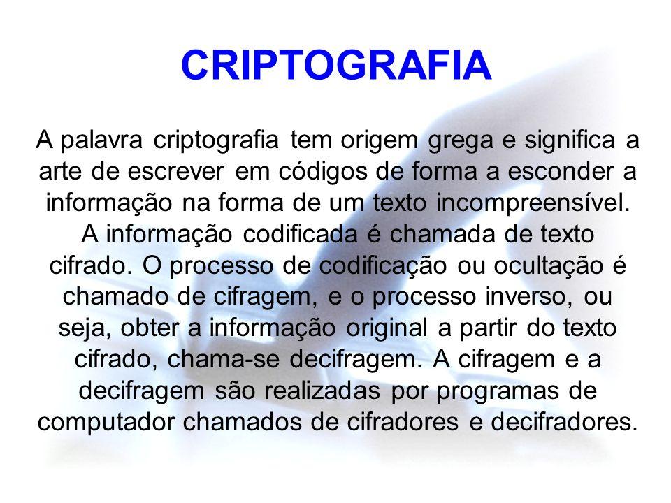 CRIPTOGRAFIA A palavra criptografia tem origem grega e significa a arte de escrever em códigos de forma a esconder a informação na forma de um texto i