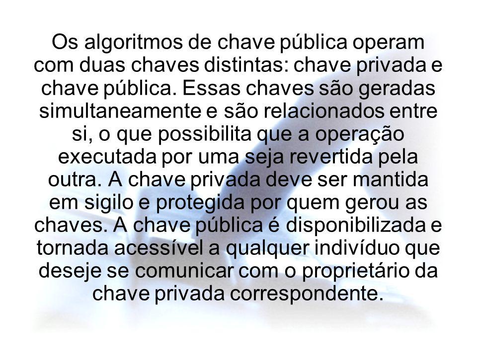 Os algoritmos de chave pública operam com duas chaves distintas: chave privada e chave pública. Essas chaves são geradas simultaneamente e são relacio