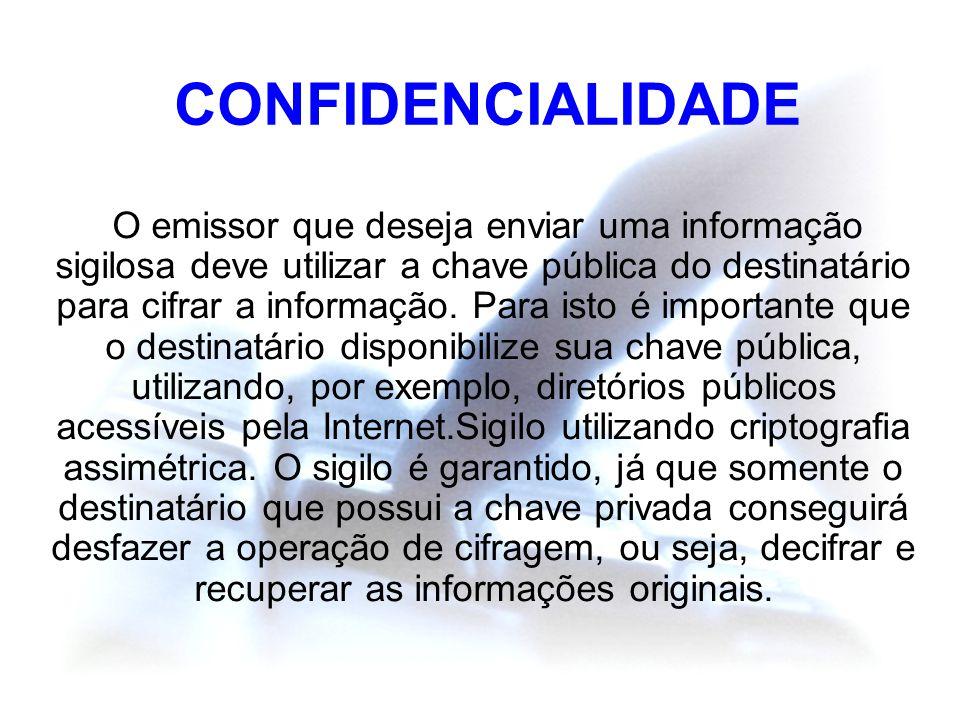 CONFIDENCIALIDADE O emissor que deseja enviar uma informação sigilosa deve utilizar a chave pública do destinatário para cifrar a informação. Para ist
