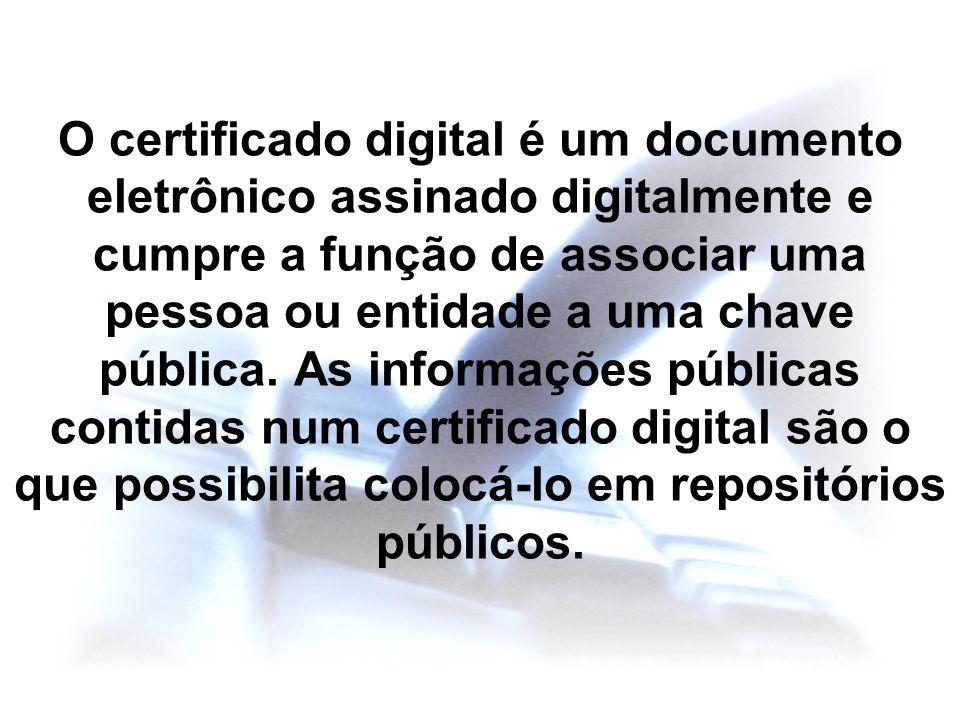 O certificado digital é um documento eletrônico assinado digitalmente e cumpre a função de associar uma pessoa ou entidade a uma chave pública. As inf
