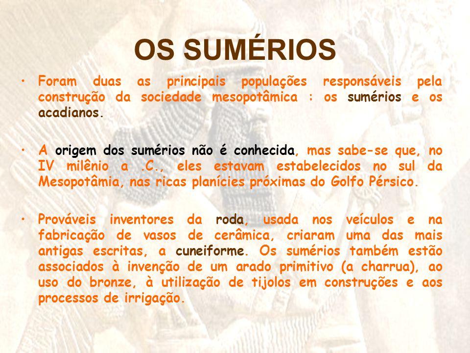 OS SUMÉRIOS •Foram duas as principais populações responsáveis pela construção da sociedade mesopotâmica : os sumérios e os acadianos. •A origem dos su