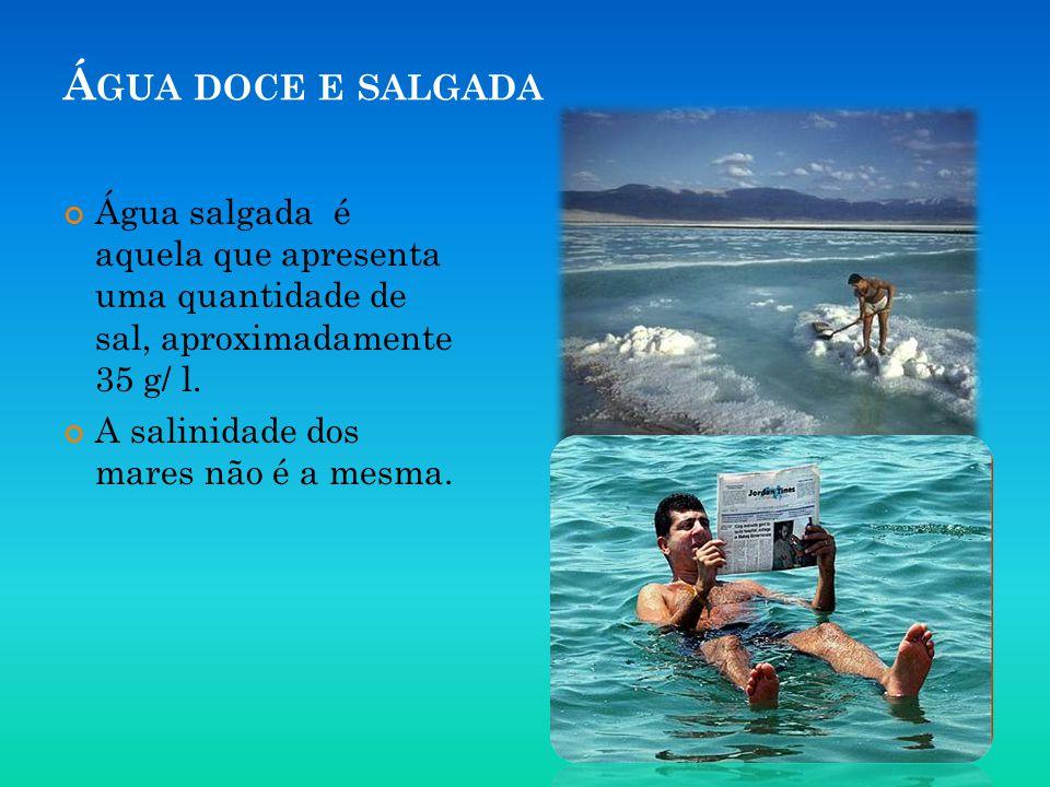 Á GUA DOCE E SALGADA Água salgada é aquela que apresenta uma quantidade de sal, aproximadamente 35 g/ l. A salinidade dos mares não é a mesma.