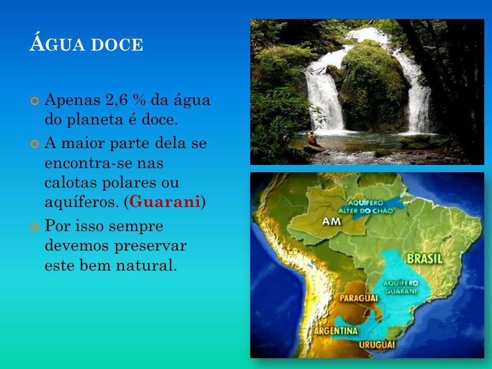 Á GUA DOCE Apenas 2,6 % da água do planeta é doce. A maior parte dela se encontra-se nas calotas polares ou aquíferos. ( Guarani ) Por isso sempre dev