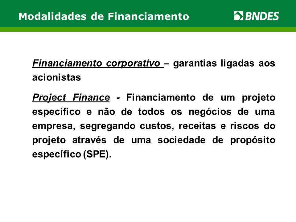 Modalidades de Financiamento Financiamento corporativo – garantias ligadas aos acionistas Project Finance - Financiamento de um projeto específico e n