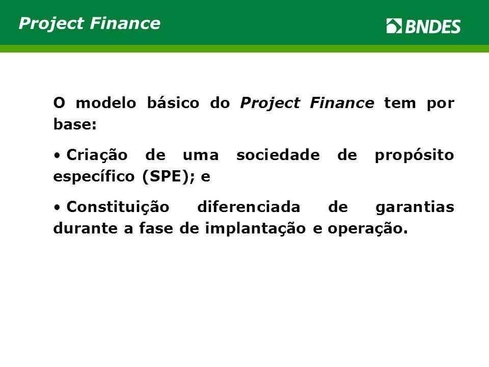 O modelo básico do Project Finance tem por base: • Criação de uma sociedade de propósito específico (SPE); e • Constituição diferenciada de garantias
