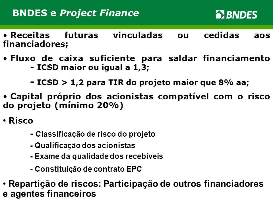 • Receitas futuras vinculadas ou cedidas aos financiadores; • Fluxo de caixa suficiente para saldar financiamento - ICSD maior ou igual a 1,3; - ICSD
