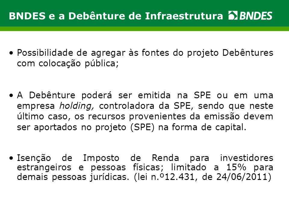 BNDES e a Debênture de Infraestrutura • Possibilidade de agregar às fontes do projeto Debêntures com colocação pública; • A Debênture poderá ser emiti