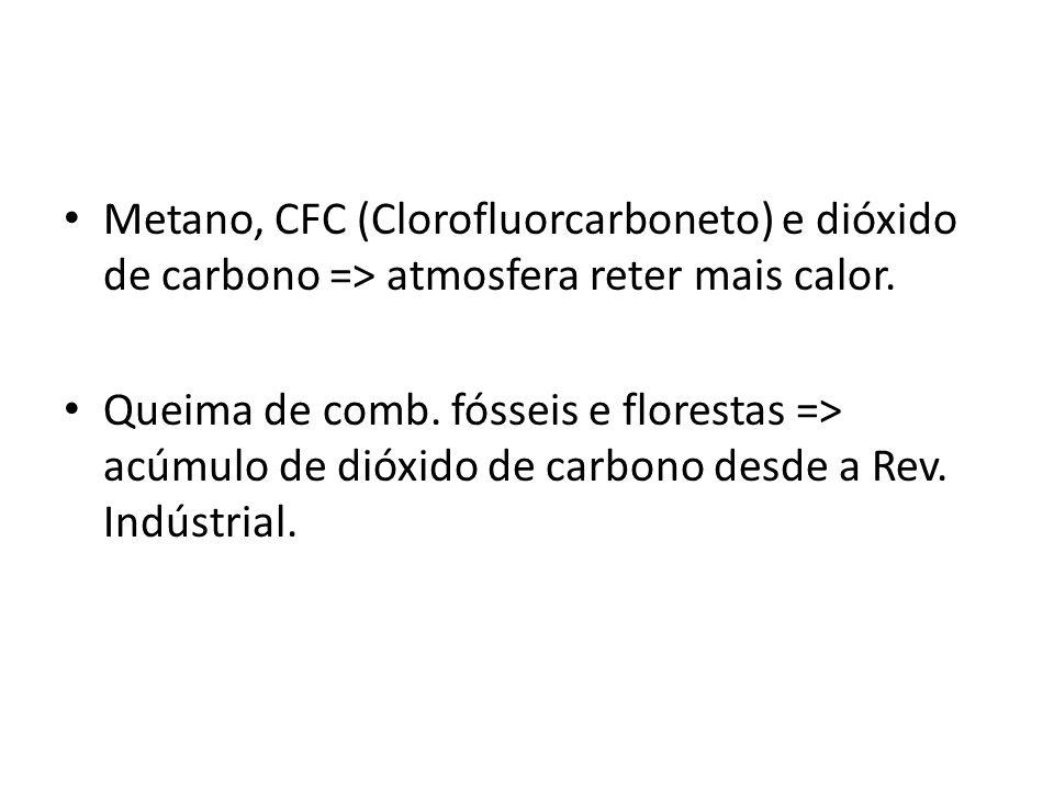 • Metano, CFC (Clorofluorcarboneto) e dióxido de carbono => atmosfera reter mais calor.