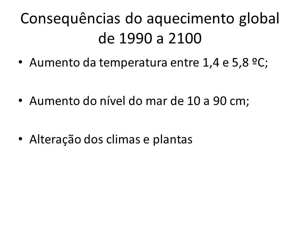 Consequências do aquecimento global de 1990 a 2100 • Aumento da temperatura entre 1,4 e 5,8 ºC; • Aumento do nível do mar de 10 a 90 cm; • Alteração dos climas e plantas